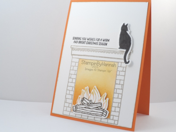 Stampin' Up! UK festive fireplace black cat christmas card