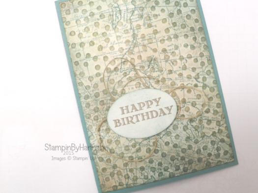 Stampin' Up! UK World Map grunge birthday card