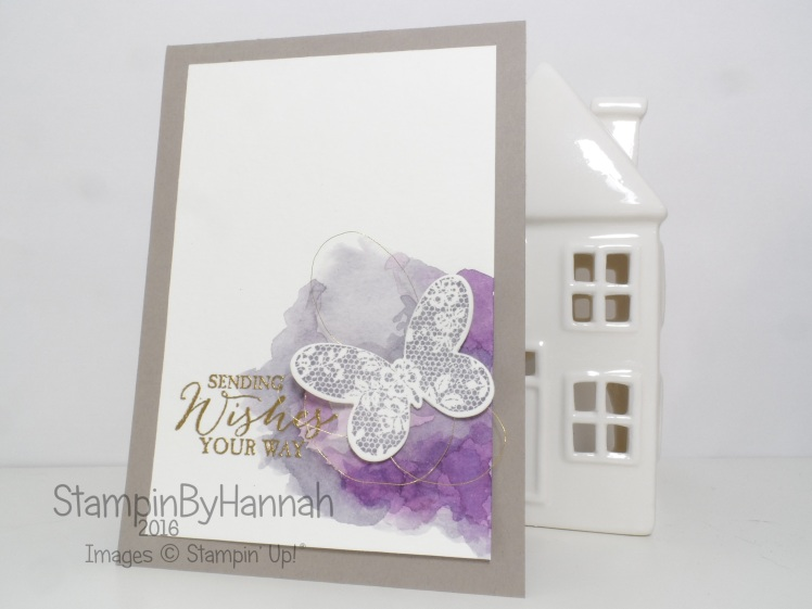 Stampin' Up! UK Butterfly Basics Watercolour Background Thinking of you card