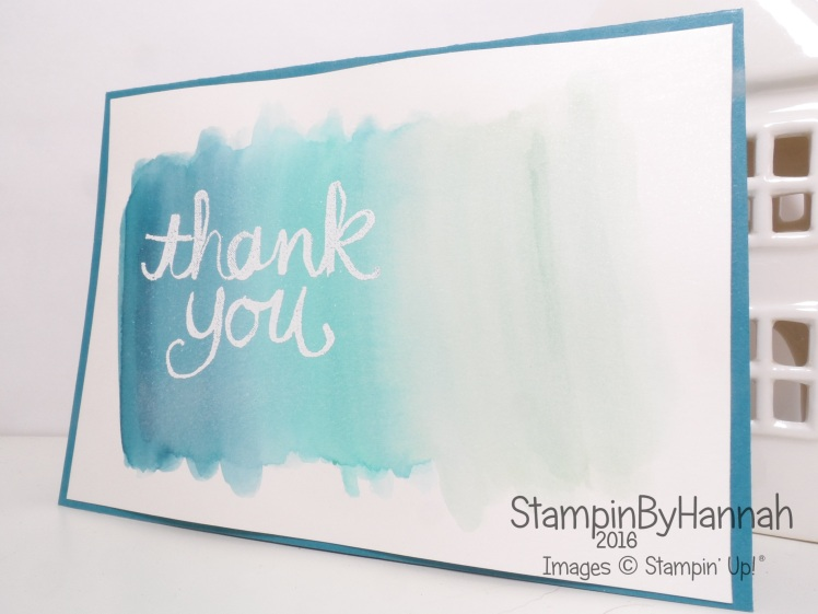 Stampin' Up! UK Watercolour Wash Video Tutorial Thank you card