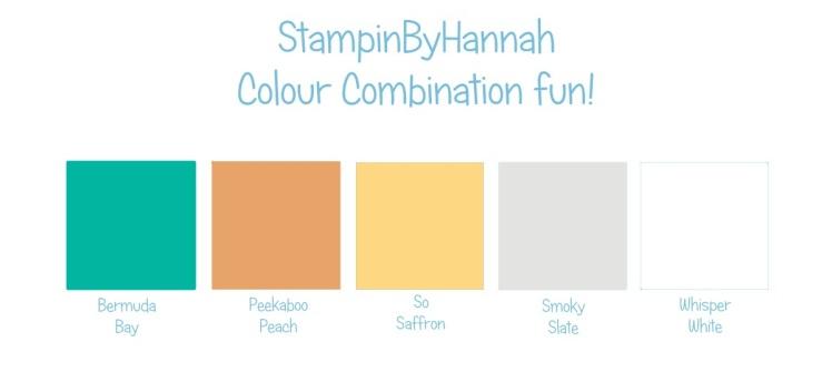 Stampin' Up! Colour Combination Bermuda Bay Peekaboo Peach So Saffron Smoky Slate Whisper White
