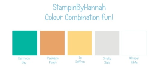 Stampin' Up! Colour Combination Bermuda Bay Peekaboo Peach So Saffron Smoky Slate Whisper White