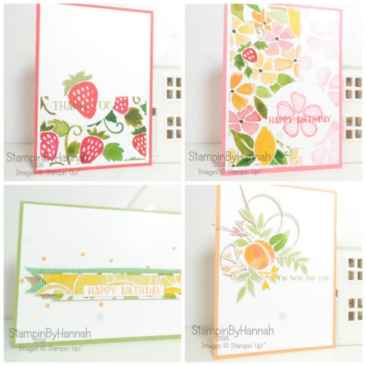 Fresh Fruit Card Collection using Fruit Stand Designer Series Paper from Stampin' Up! UK