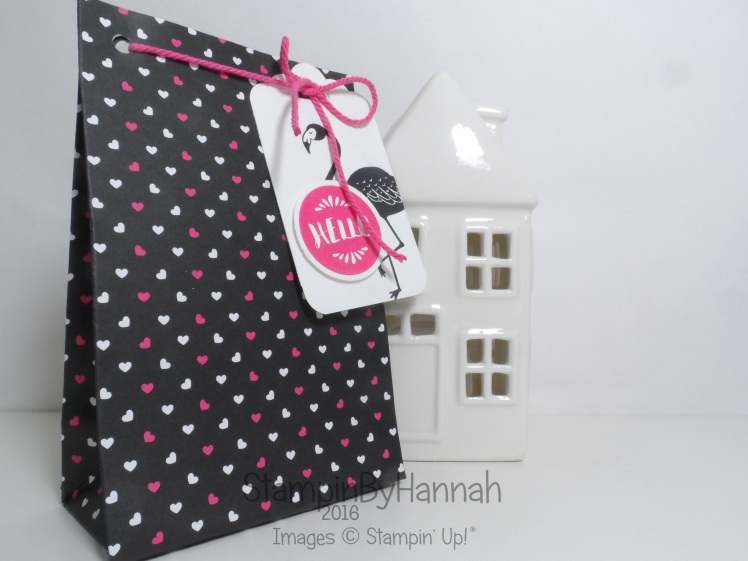 Gift bag punch board project using Pop of Pink from Stampin' Up! UK