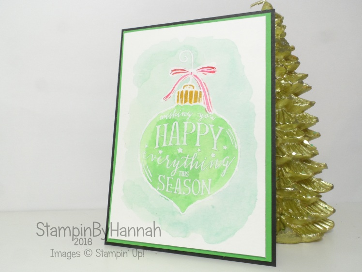 Watercolour Christmas Card using Happy Ornament from Stampin' Up! UK