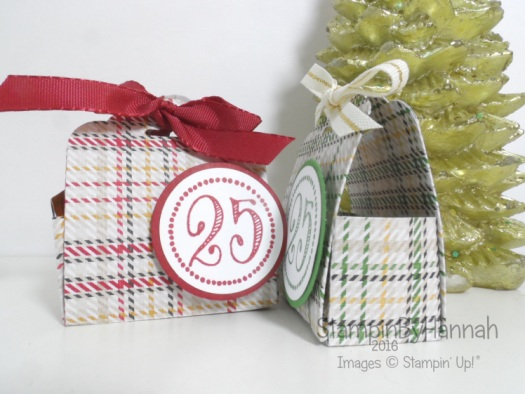 Chocolate Treat Pouch using Warmth and cheer designer series paper from Stampin' Up! UK