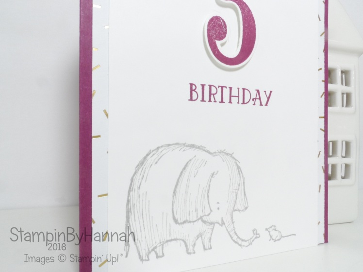 3rd Birthday card using Love you lots from Stampin' Up! UK