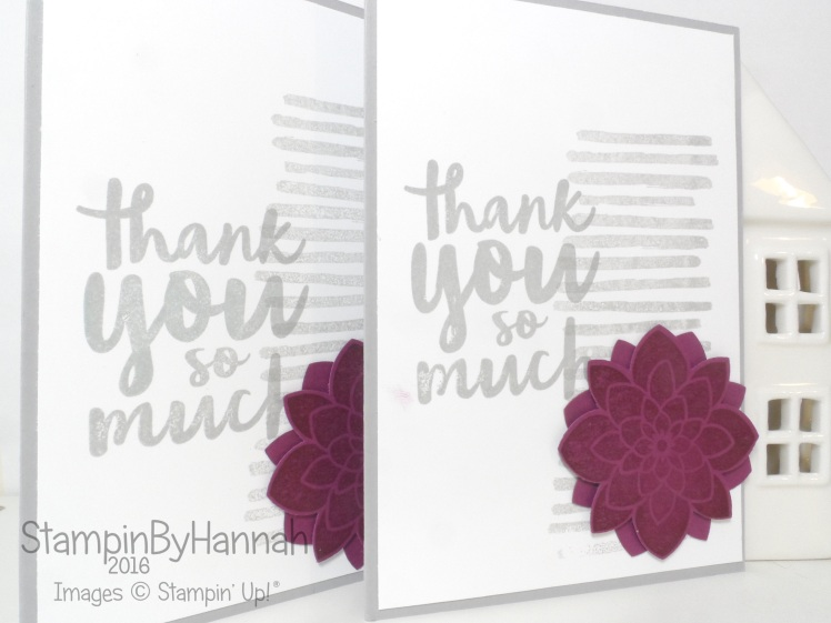 Customer thank you cards using Thankful Thoughts Playful Backgrounds and Crazy about you from Stampin' Up! UK
