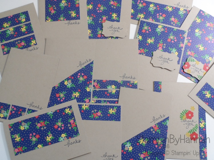 Make It Monday One Sheet Wonder Thank You cards using Affectionately Yours and Endless Thanks from Stampin' Up! UK