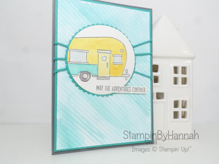 Watercoloured Adventure card using Glamper Greetings from Stampin' Up! UK for the Pootles Papercraft Design Team