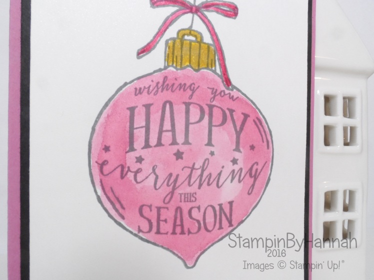 Happy Ornament Watercolour Christmas card using Stampin' Up! UK Products