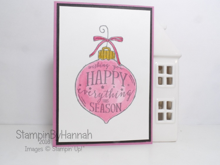 Make It Monday Watercolour Christmas Card using Happy Ornament from Stampin' Up!