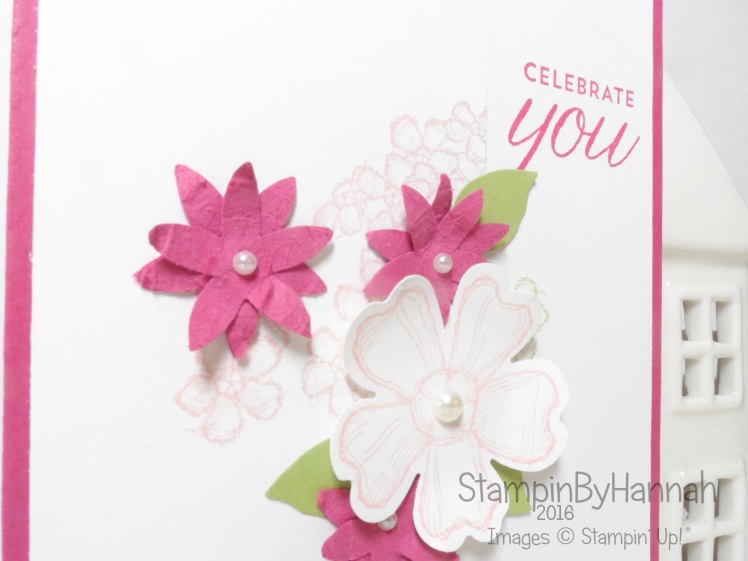 Birthday Blossoms Card in Rose Red Blushing Bride and Pear Pizzazz from Stampin' Up! UK