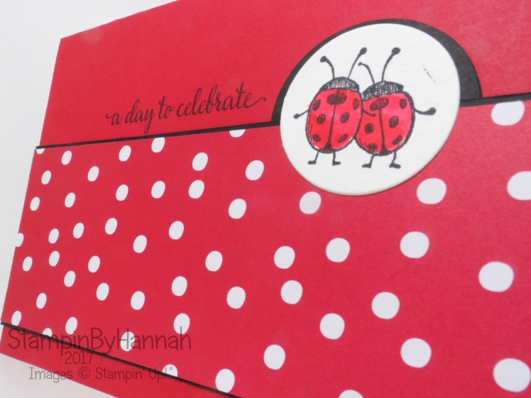 Sketch Challenge Celebration card with Ladybirds from Lots of Love and Falling in Love from Stampin' Up! UK