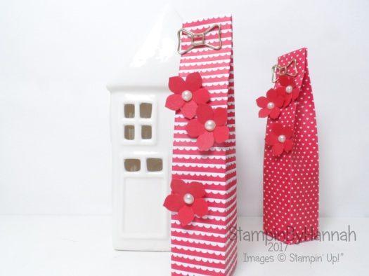 Love hearts week tall skinny gift bag using Sending Love Designer Series Paper from Stampin' Up! UK