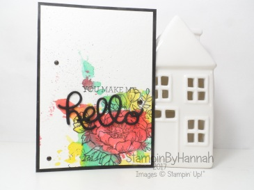 Watercolour Smooshing Hello Card using Crazy About You from Stampin' Up! UK #GDP073
