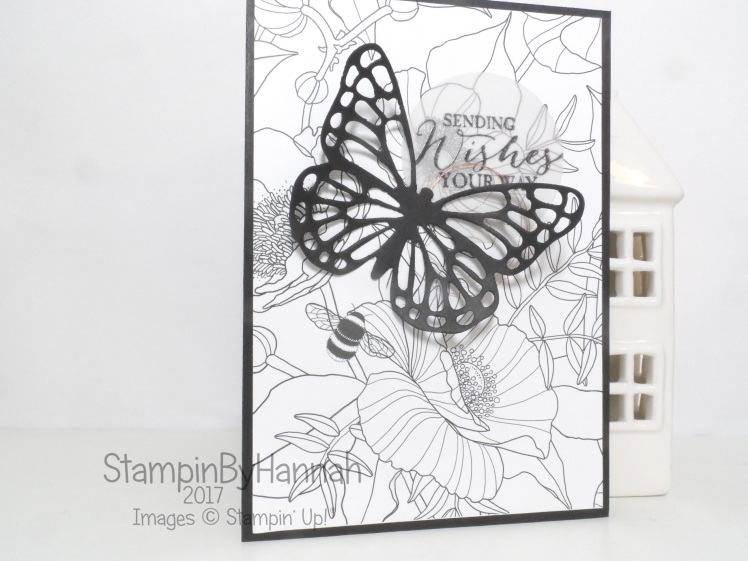 Sale-a-bration wednesday Sending Wishes card using Inside the Line and Butterfly Basics from Stampin' Up! UK