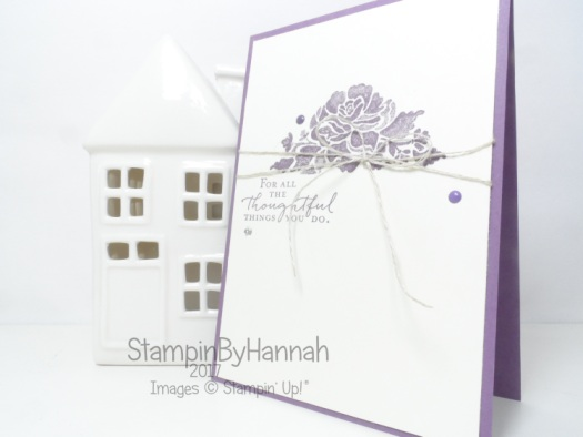 Purple Thank you card using Floral Phrases from Stampin' Up!