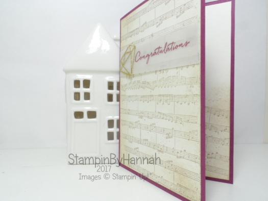 Wedding Congratulations card using Sheet Music and Eclectic Layers thinlits from Stampin' Up!