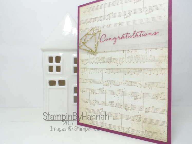 Shabby chic congratulations card using Sheet Music stamp from Stampin' Up!