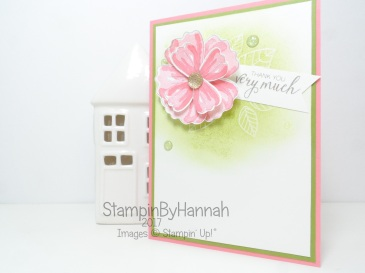TGIF Challenge Emboss Resist Thank You card using Bunch of Blossoms from Stampin' Up!